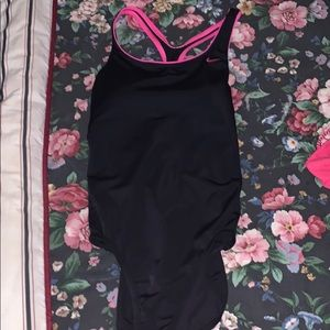 Black/ pink one piece Nike bathing suit